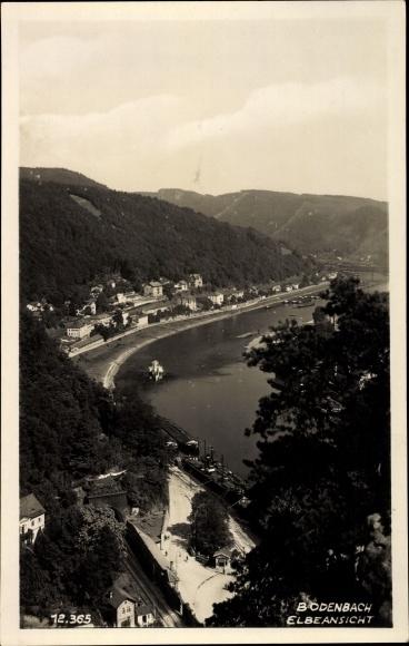 Ak Děčín Tetschen Bodenbach Elbe Reg. Aussig, Elbe, Fernblick