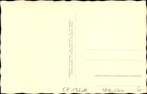 Ak Hřensko Herrnskretschen Elbe Reg. Aussig, Edmundsklamm mit Klammfamilie 1