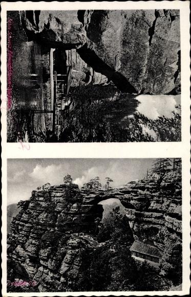 Ak Hřensko Herrnskretschen Elbe Reg. Aussig, Edmundsklamm, Blockhaus