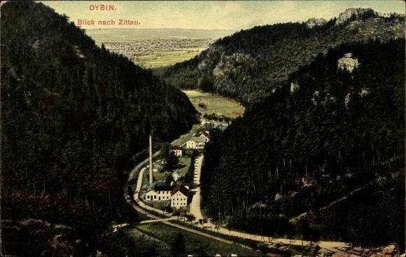 Ak Oybin in Sachsen, Blick durch das Tal Richtung Zittau, Fabrik