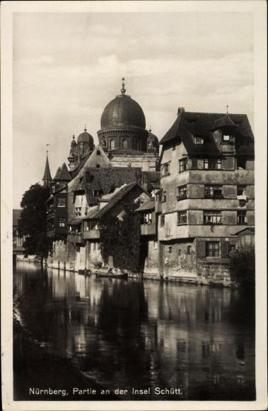 Ak Nürnberg in Mittelfranken Bayern, Partie an der Insel Schütt