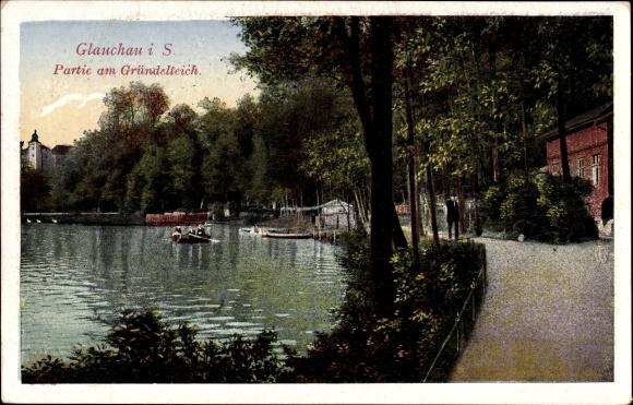 Ak Glauchau Sachsen, Partie am Gründelteich, Ruderboot