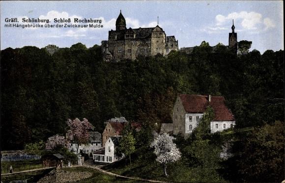 Ak Lunzenau Mittelsachsen, Gräfl. Schönburg, Schloß Rochsburg