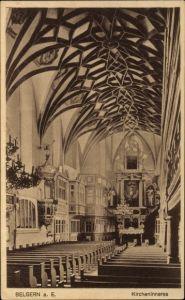 Ak Belgern Schildau in Nordsachsen, Blick ins Innere der Kirche, Kanzel
