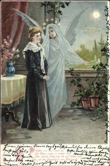 Ak Das Eltern Grab, Schutzengel, Trauer der Tochter um die Eltern