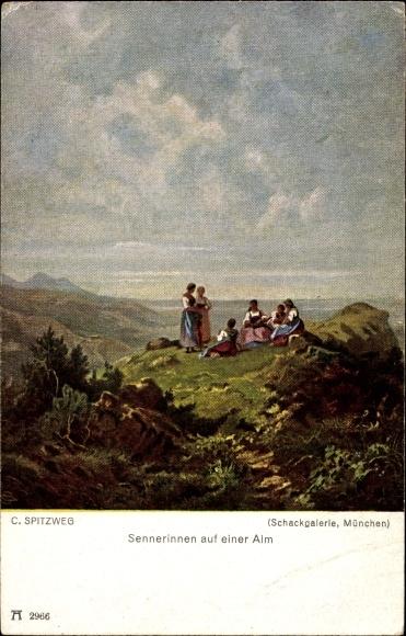 Künstler Ak Spitzweg, Carl, Sennerinnen auf einer Alm, Ackermann 2966