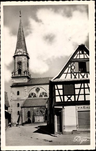 Ak Erstein Bas Rhin, L'Eglise, Blick zur Kirche, Fachwerkhaus