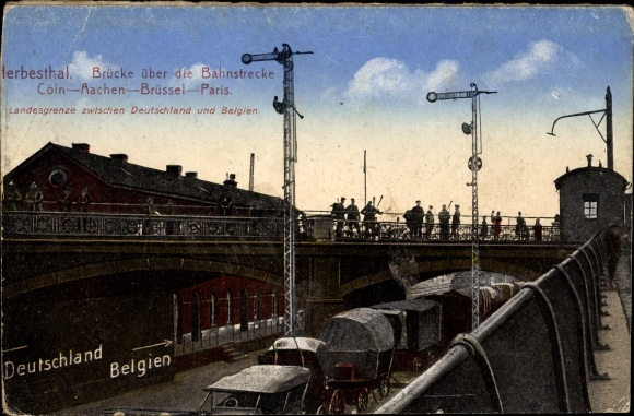 Ak Herbesthal Lontzen Wallonien Lüttich, Brücke über Bahnstrecke Köln Paris
