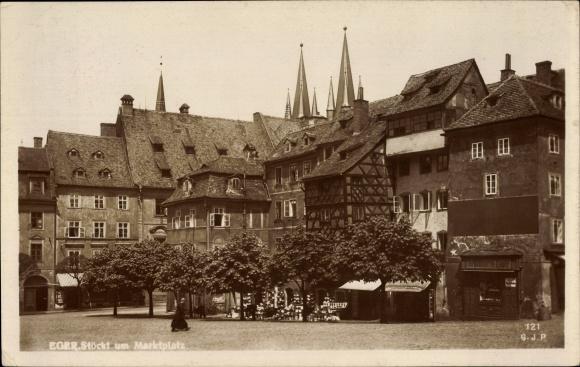 Foto Ak Cheb Eger Reg. Karlsbad, Stöckl, Marktplatz