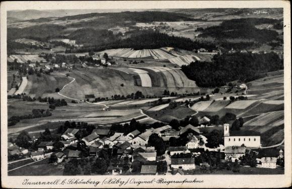 Ak Innernzell in Niederbayern, Fliegeraufnahme von Ort und Umgebung