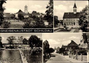 Ak Belgern Schildau Nordsachsen, Gneisenaustadt, Freibad am Neumühlenteich