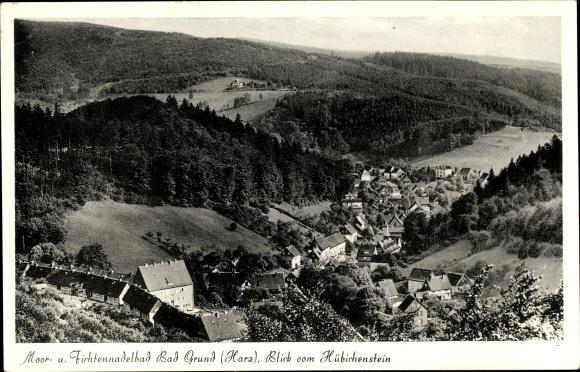 Ak Bad Grund im Harz, Blick vom Hübichenstein auf den Ort