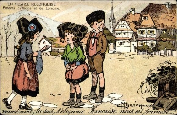Künstler Ak Marechaux, En Alsace reconquise, Enfants d'Alsace et de Lorraine