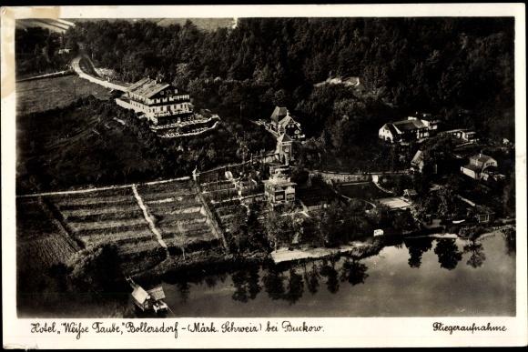Ak Bollersdorf Oberbarnim Märkische Schweiz, Hotel Weiße Taube, Fliegeraufnahme