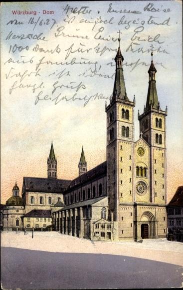 Ak Würzburg am Main Unterfranken, Blick auf den Dom, Platz, Portal