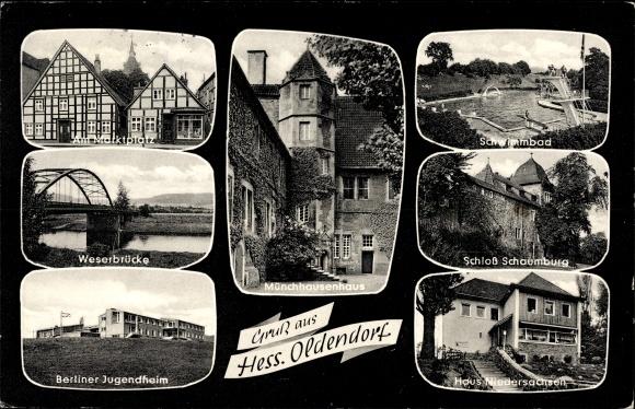 Ak Hessisch Oldendorf an der Weser, Weserbrücke, Münchhausenhaus
