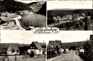 Ak Schulenberg Clausthal Zellerfeld im Oberharz, Talsperre, Blick auf den Ort