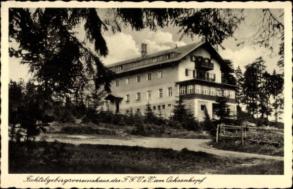 Ak Bischofsgrün Fichtelgebirge, Fichtelgebirgsvereinshaus des FGV am Ochsenkopf
