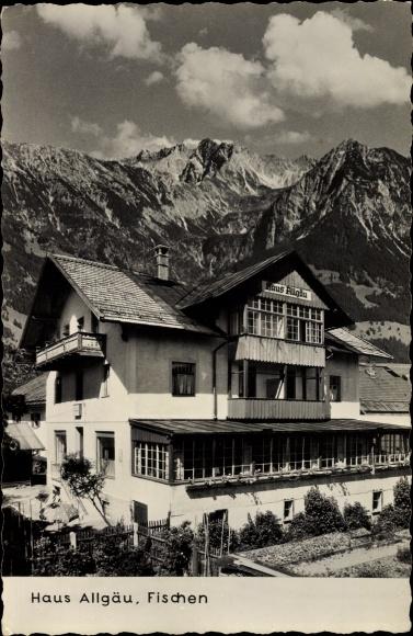 Ak Fischen im Allgäu in Schwaben, Blick auf das Haus Allgäu, Gebirge