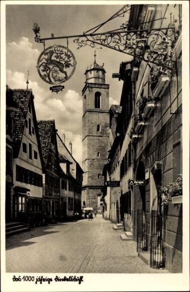 Ak Dinkelsbühl im Kreis Ansbach Mittelfranken, Blick in die Turmgasse, Turm