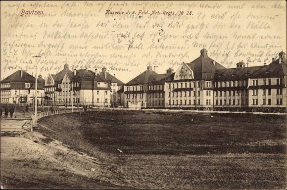 Ak Bautzen in der Lausitz, Kaserne des 2. Feld Art. Regts. No. 28