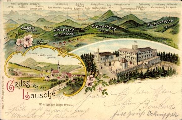 Litho Waltersdorf Großschönau, Lausche, Grünberg, Dürreberg, Klötzerberg