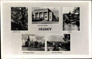 Ak Hronov nad Metují Hronow Reg. Königgrätz, Jiraskovo Divadlo, Buk, Mestanska Skola, Schule,Theater