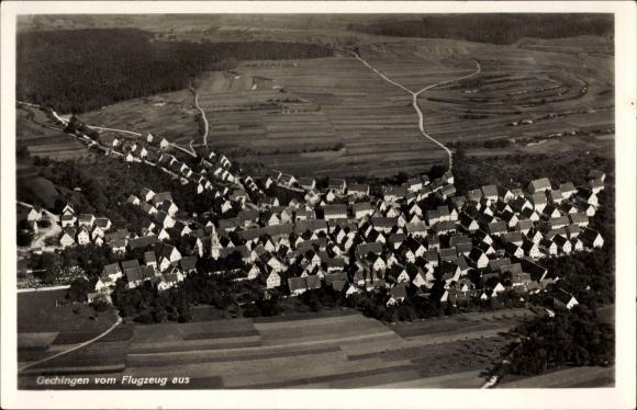 Ak Gechingen im Schwarzwald, Fliegeraufnahme von Ort und Umgebung
