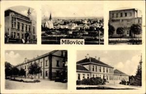 Ak Milovice nad Labem Milowitz Mittelböhmen, Gebäude der Stadt, Totalansicht