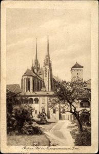 Ak Brno Brünn Südmähren, Hof des Franzensmuseum mit Blick zum Dom
