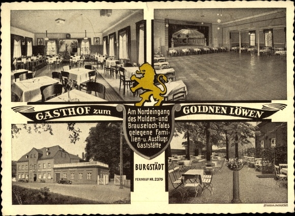 Ak Burgstädt in Sachsen, Gasthof zum Goldenen Löwen, Innenansicht, Saal