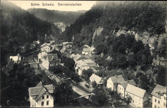 Ak Hřensko Herrnskretschen Elbe Reg. Aussig, Böhmische Schweiz, Ortschaft