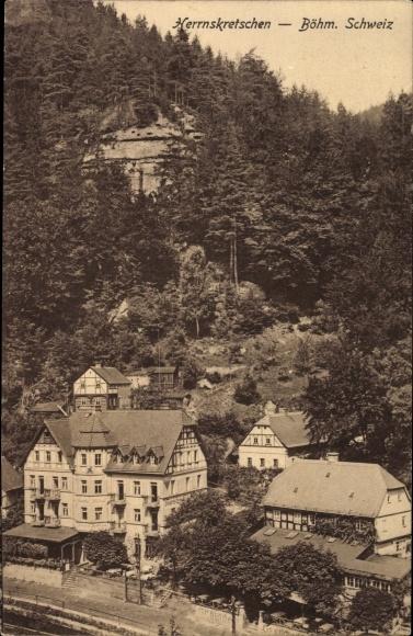 Ak Hřensko Herrnskretschen Elbe Reg. Aussig, Straßenpartie, Häuser, Felsen