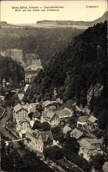 Ak Hřensko Herrnskretschen Elbe Reg. Aussig, Blick auf den Ort, Zirkelstein, Elbtal