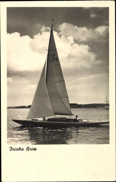 Ak Frische Brise, Segelboot auf dem Wasser