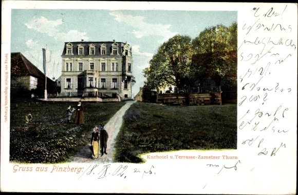 Ak Pinzberg in Oberfranken, Kurhotel und Terrasse Zametzer Turm