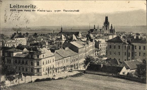 Ak Litoměřice Leitmeritz Reg. Aussig, Blick vom Hang der Mastris gegen Theresienstadt