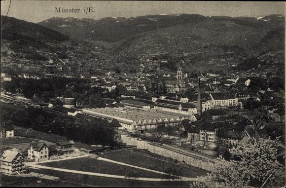 Ak Munster Münster Elsaß Elsass Haut Rhin, Ortsansicht, vue de la ville
