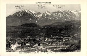 Ak Albertville Savoie, vue générale, Centre d'excursions, Roc Rouge, Pte de Cruessajran,Belle Etoile