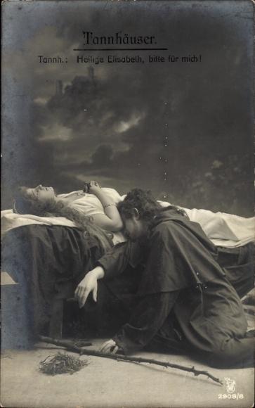 Ak Theaterszene aus Tannhäuser, Heilige Elisabeth, bitte für mich