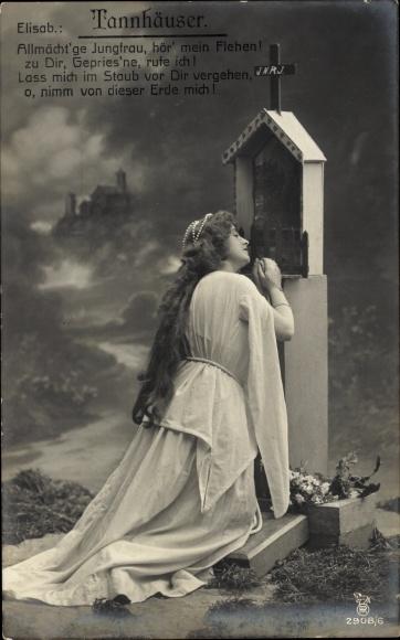 Ak Theaterszene aus Tannhäuser, Elisabeth, Allmächtige Jungfrau, hör mein Flehen, RPH 2908 6