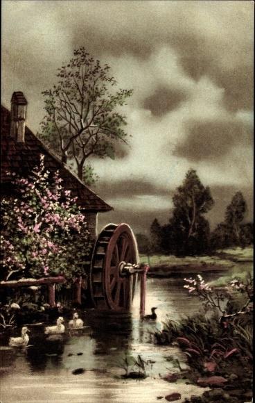 Künstler Ak Wassermühle, Enten, Blütenstrauch