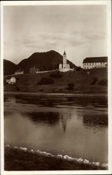 Ak Valtířov Waltirsche Velké Březno Großpriesen Reg. Aussig, Kirche, Elbtal