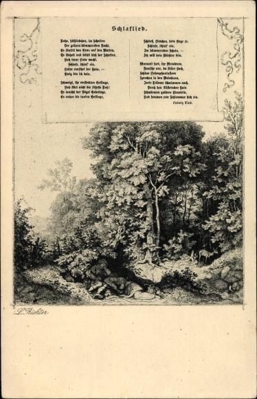 Künstler Ak Richter, L., Schlaflied, Mann und Frau schlafen in einer Höhle