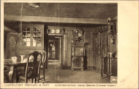 Ak Keitum auf Sylt, Nordfriesland, Altfriesisches Haus, Bestes Zimmer, Pesel