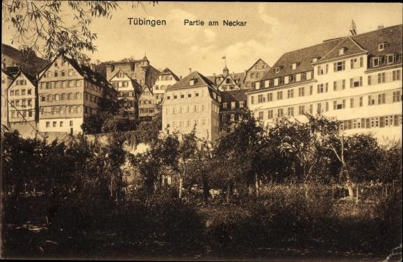 Ak Tübingen am Neckar Baden Württemberg, Partie am Neckar, Häuser