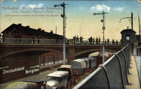 Ak Herbesthal Lontzen Wallonien Lüttich, Brücke über die Bahnstrecke Köln Aachen Brüssel Paris