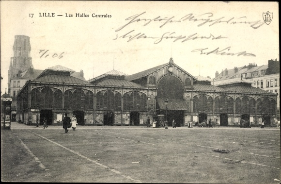 Ak Lille Nord, Les Halles Centrales, Platz, Kirchturm