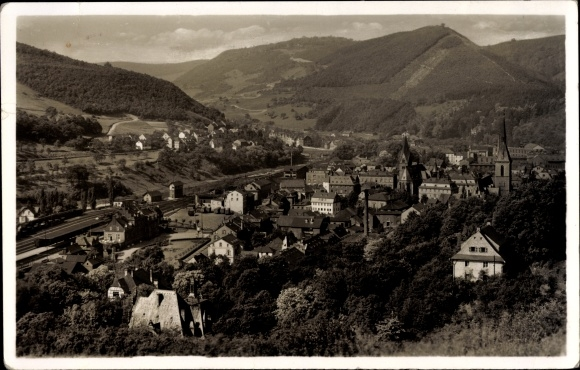 Ak Kirn an der Nahe in Rheinland Pfalz, Blick auf den Ort von Osten, Berg