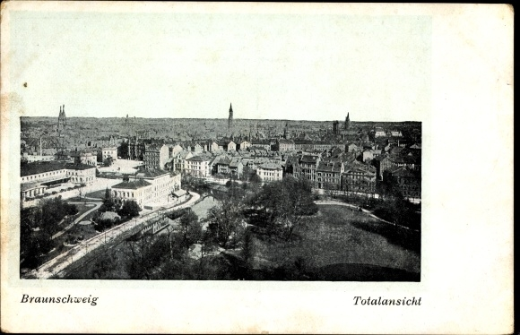 Ak Braunschweig in Niedersachsen, Totalansicht der Stadt, Kirchtürme, Park